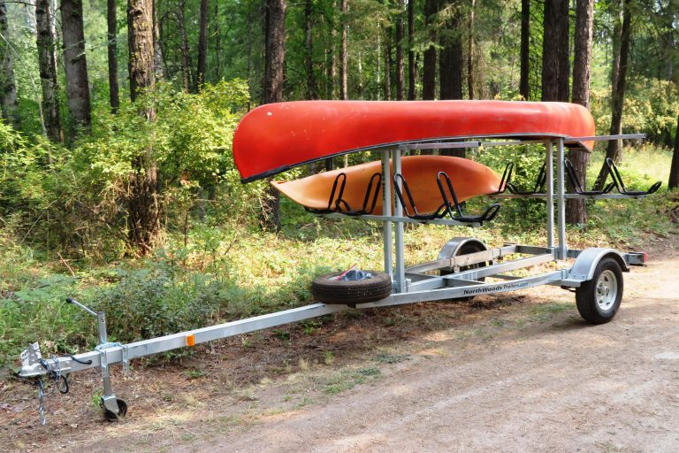4 Place Trailer with Canoe and Kayak Loaded