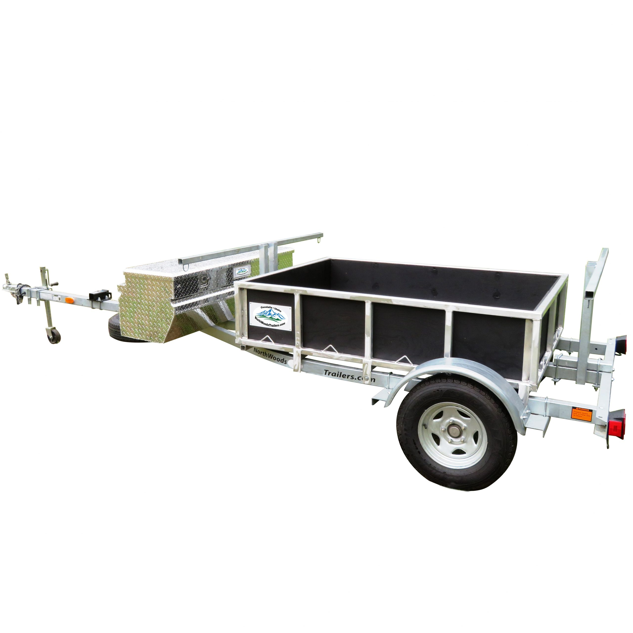 """2 Place Trailer with Open Box and 60"""" Aluminum Box"""